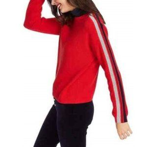 Court & Rowe Bright Red Striped Sleeve Sweater